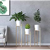 SKAFA Plant Stand, 3 pcs Modern Planters for Indoor Plants, Metal Floor Planter Set with Foldable Stand(Pack of 3) (White)