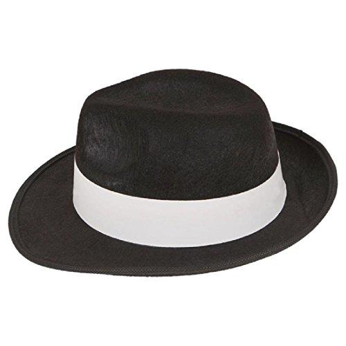LS Glamour Room Kostümset Gangster aus den 1920erJahren, Schwarz/Weiß/Rot Melone, Krawatte, Hosenträgern und Fake-Zigarre Gr. Einheitsgröße, Black Trilby (Kostüm Lady Red Hat)
