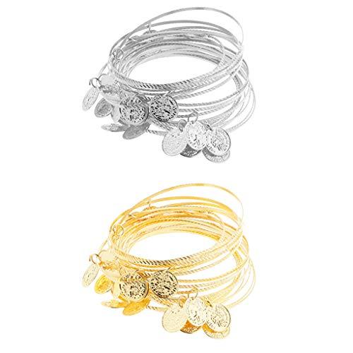 IPOTCH 40pcs Bauchtanz Handgelenk Manschette Armband mit Münzen Hand Kette Hand Schmuck Golden und Silber
