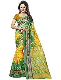 Yellow Bhagalpuri Woven Saree With Blouse