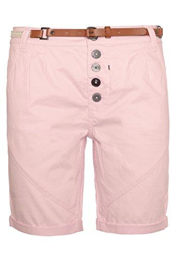 Sublevel Damen Chino-Shorts mit Flecht-Gürtel I Leichte Bermuda I Kurze Hose in Schwarz, Weiß, Grau & Rosé Dark-Rose S