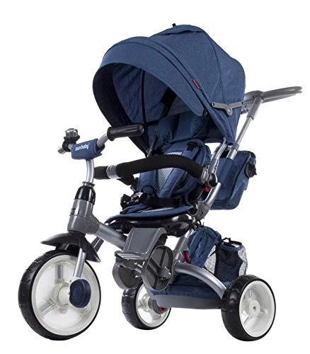 Tricycle Bébé Poussette Orientable Little Tiger avec Poignée de Poussée Canopée Ceintures et Sacs Bleu Melange