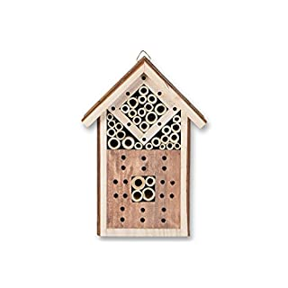 Hanging Insect Hotel made of wood, 16.5 x 9 x 23.5 cm Floatingshelf Insect Hotel Garden Spring Nesting Box Nesting Aid Bees Insects Beetle