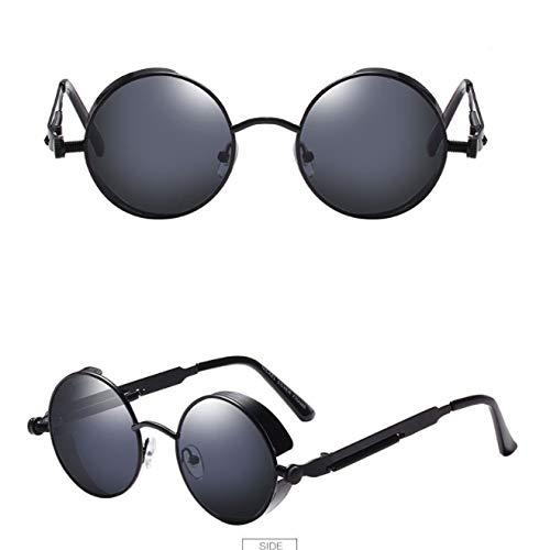 xinrongqu Gafas De Sol: Gafas De Sol Redondas Para Hombre Y Mujer Big Box Punk Gafas De Sol Coloridas Gafas De Sol Marco Negro Gris
