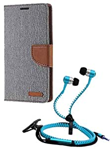 Aart Fancy Wallet Dairy Jeans Flip Case Cover for Micromax-Q372 (Grey) + Zipper Earphones/Hands free With Mic *Stylish Design* for all Mobiles- computers & laptops By Aart Store.