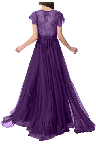Sunvary Traumhaft 2015 Spitze Kurzarm Chiffon Lang Falte Abendkleid Ballkleider Violett