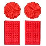WENTS Waffeln Formkuchenform 4 PCS Silikon Backform Kuchenform Eiswürfelform Schokoladen Süßigkeiten Formen Rot Herz und Rechteckige