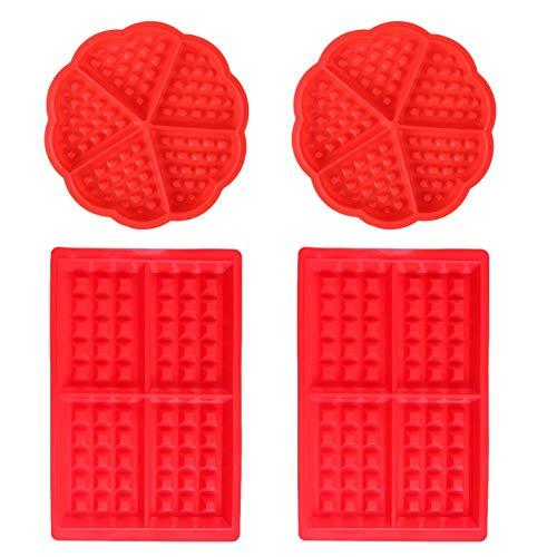 WENTS Waffeln Formkuchenform 4 PCS Silikon Backform Kuchenform Eiswürfelform Schokoladen Süßigkeiten Formen Rot Herz und Rechteckige - Waffel Silikon-form