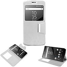 Donkeyphone 599371031 - flip cover blanca para sony xperia z5 funda con ventana, tapa, apertura libro, cierre con iman y soporte
