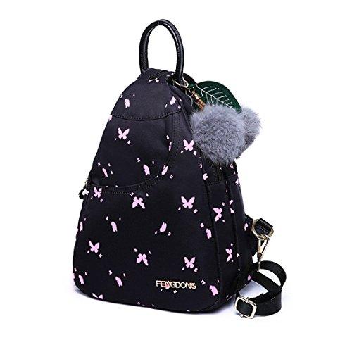Schwarzer Mini Rucksack Mädchen Schultasche Rucksack