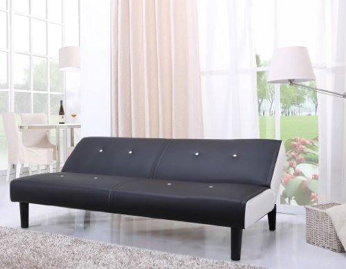 NEG Design Schlafsofa HELIOS (schwarz/weiß) mit Napalon-Leder-Bezug Klappsofa, 3-Sitzer, Liegefläche 179x108cm, sehr bequem - 4