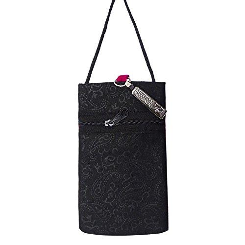 Tradizionale Ricamato Sacchetto Mobile Mini Borsa Della Moneta Sacchetto Dell'Imbracatura Soldi Portafoglio Rosa