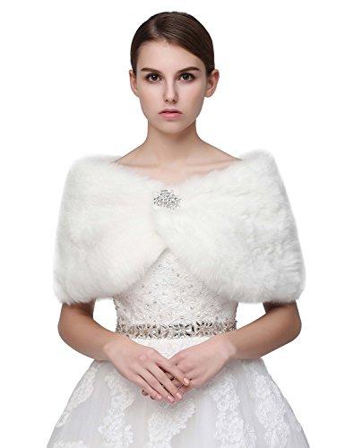 Weiß Brautkleid (Sarahbridal Damen Kunstpelz Wrap Cape Hochzeit Stola-Schal Bolero für Brautkleid Warm Winter Umhang S17012 Weiß M)