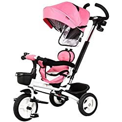 Moolo Poussettes bébé Trolley pour poussettes, vélo Tricycle pour Enfants pour bébé, Pliage 1-6 Ans, Poussette (Couleur : Rose)
