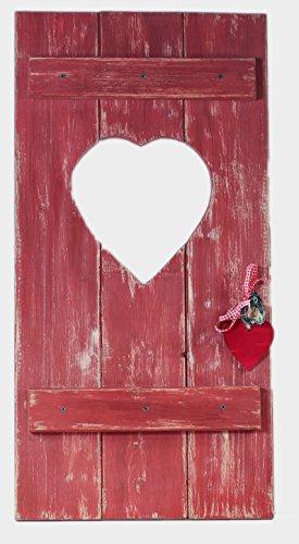 Fensterladen Herz Holz Dekoration Hochzeitsgeschenk Geldgeschenk Geschenkidee Shabby Stil Landhausstil rot von feiner-Tropfen
