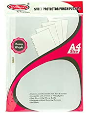 Bambalio BP-80A Glossy Transparent Document Sleeves, 100 Leaf Sheets, Clear Certificates/Water Proof Sheet Protectors 11 Holes Punched Ring Files A4 Size/ 80 Microns
