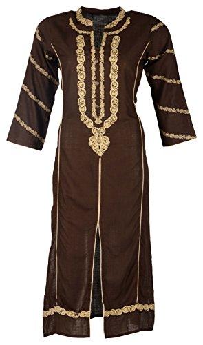 Poshak Women's Cotton Achkan Kurta (Brown, Small)