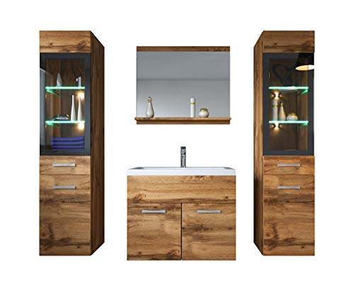 Badezimmer Badmöbel Set Rio XL LED 60 cm Waschbecken Wotan (Braun) - Unterschrank 2X Hochschrank Waschtisch Möbel