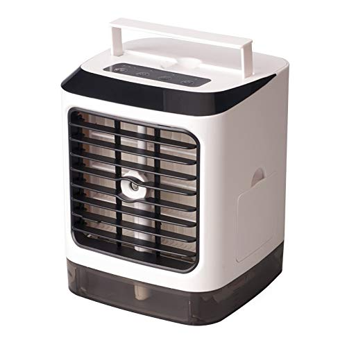 Tragbare Klimaanlage Fan, Luftbefeuchter Luftreiniger & Verdunstungs Desktop-Lüfter, 3 in 1 Mini Personal Air Conditioner, Personal Air Cooler Tischventilator für Home Bedroom Office Wireless Remote C - Deluxe Home Office