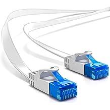Cable de red plano deleyCON CAT 6 de 1m, cable de red Gigabit LAN DSL apantallado U/UTP contactos dorados conectores RJ45 - blanco
