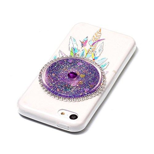 Coque iphone 5c liquide, LuckyW Housse Etui Attrapeur de rêves Modèle TPU Silicone Transparent Coque pour Apple iPhone 5C 3D Bling Glitter Briller Sparkle Éclat Flowing Fluide Flottant Liquide Sables  Violet