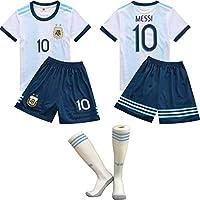 Coppa del Mondo di Calcio FFF/Home Maglia Argentina Messi/Argentina 2018 Home Football Maglie Tuta da Allenamento per Bambini T-Shirt da Calcio Calze/Taglia Standard,White,24