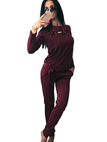 YiLianDa Damen Jogginganzug Langarm Anzug Pullover Sportanzug Trainingsanzug Sweatshirt Anzug mit Hose Rot L (Anzüge Für Frauen)