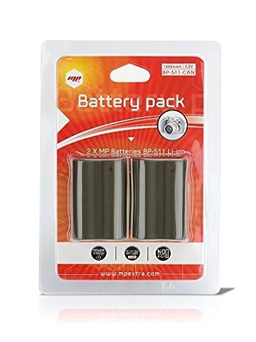 2 x batteries bp511 , bp-511 pour CANON - PUISSANCE 1800mAh - MP EXTRA®