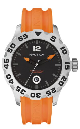 Nautica Men's Bfd 101 Watch A14603G With Black Dial And Orange Resin Strap