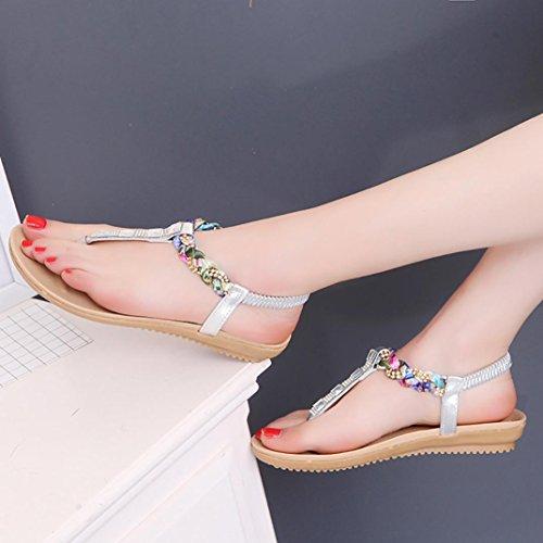 Neue Sommer Flat Fersensandalen, Kaiki Frauen flache Schuhe Perlen Böhmen Freizeit Sandalen Peep-Toe Flip Flops Schuhe Silver