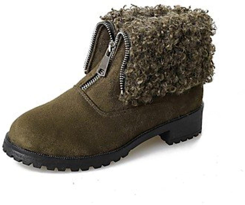 RTRY Zapatos de mujer Suede Moda Invierno botas botas talón plano Ronda Toe para fiesta informal &Amp; Noche Ejército... -