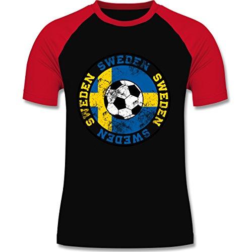 EM 2016 - Frankreich - Sweden Kreis & Fußball Vintage - zweifarbiges Baseballshirt für Männer Schwarz/Rot