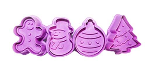 Lalang 4 teilige Weihnachts-Plätzchenausstecher Cookie Cutters Plätzchenformen Backformen Fondant Keks Ausstechformen Set Geschenkkarton