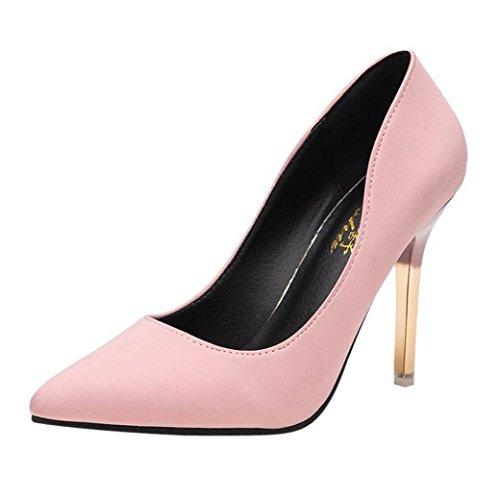 Liquidación! Tacones de mujer Covermason Zapatos de tacón fino de moda Zapatos de tacón bajo de punta estrecha(37 EU, Rosado)