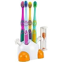 Set cepillo de dientes cepillo de dientes rsten Niño con soporte Color Blanco/Naranja con reloj de arena para cuidado dental de sus hijos