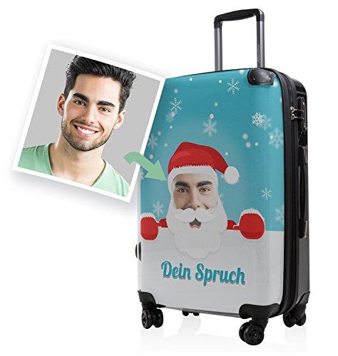 """HAUPTSTADTKOFFER® · Hartschalenkoffer Koffer Trolley Reisekoffer Hartschale · Serie """"Style"""" (Eule Strand Sonnenschirm) Santa- Dein Bild Blau"""