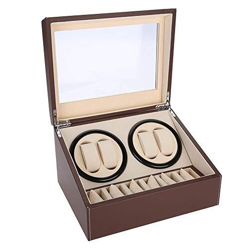 Automatik-Uhrenbeweger-Etui, Aufbewahrungskoffer für Organizer- und Display-Uhren, 4 + 6-Raster (braun)