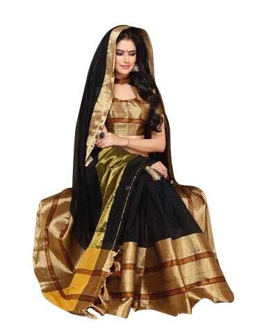 Craftsvilla Women's Cotton Black Zari border Saree with blouse piece