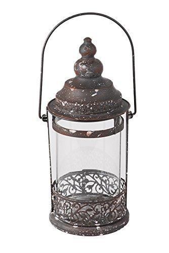 ls Windlicht zum Aufhängen - rund & rustikal - Metall & Glas - Groß (Runde Glas-laternen)