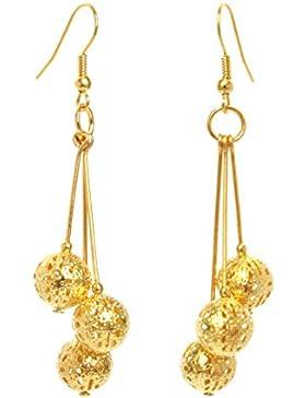 2LIVEfor Handmade Ohrringe Gold hängend Kugeln Design Indisch Orientalisch Lange Ohrringe Gold Lang 7 cm Ohrhänger