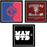 Interio Crafts 8X8 Inches FC Manchester United Set Of Three Posters With Black Picture Frame- Oxford Wide Molding - Wall Mounting Frame- Glass In Front
