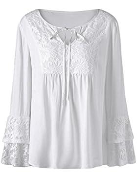 LuckyGirls Mujer Talla Grande Camisetas Manga Larga Sexy Cordón Patchwork Bowknot Color Sólido Blanco Tops Blusa...