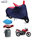 #5: Fabtec Bike Cover for Honda Cb Unicorn with Storage Bag & Microfiber Glove Duster Free (Red & Blue)