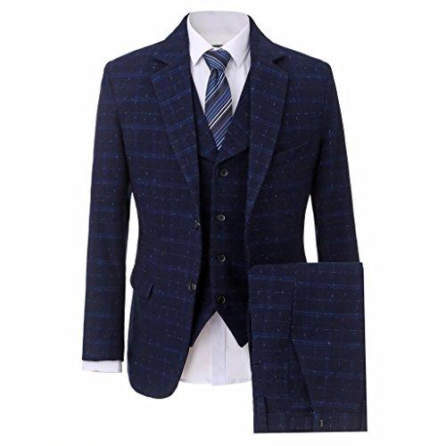 Neue 2-knopf Herren Anzug (Lilis® Herrenbekleidung Zwei-Knopf Männer Anzug Marineblau Hochzeit Anzüge Slim Fit Smoking)