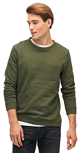 TOM TAILOR Denim Herren Crewneck Nepyarn Sweatshirt Woodland Green