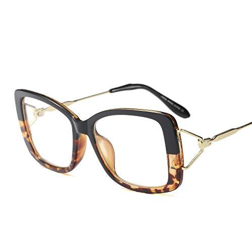 Shengjuanfeng-brillen Frauen-Retro quadratische klare Linsen-Gläser, ultraleichter Rahmen. Accessoires (Farbe : Black/Leopard)