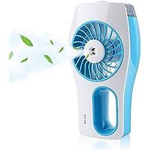 Portátil ventilador, Vitutech Portatil Mini USB Hidratante Ventilador Recargable USB Portatil de mano con humidificador hidratante para el hogar, oficina y el recorrido - Azul