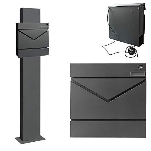 Edelstahl Briefkasten Set Standbriefkasten Ständer Zeitungsrolle Freistehend Anthrazit V2Aox Auswahl, Ausführung:6 (mit Klingel)