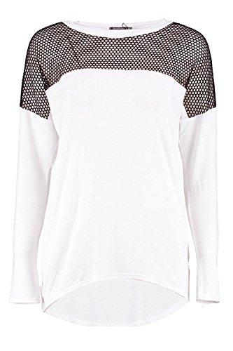 Femmes blanc Hailey T-shirt En Jersey À Manches Longues En Résille Blanc