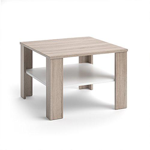 VICCO Couchtisch HOMER 60x60 - Wohnzimmer Sofatisch Kaffeetisch 3 Farbvarianten +++ Beistelltisch - mit Ablagefach - Top Design +++ (sonoma weiß) (Hohe Eiche Tisch)